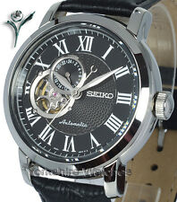 New SEIKO CLASSIC AUTO SKELETON BLACK FACE LEATHER BUCKLE STRAP SSA233K1