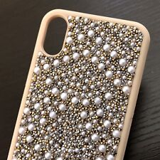 For iPhone X - Hard Premium TPU Rubber Skin Case Cover Gold Diamond Bling Pearls