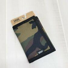 Vans Wallet Green Camo Pattern Tri Fold Canvas ID Credit Card Pocket NWT Mens