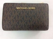 New Authentic Michael Kors Jet Set Travel PVC Bifold Zip Coin Wallet Brown/Acor