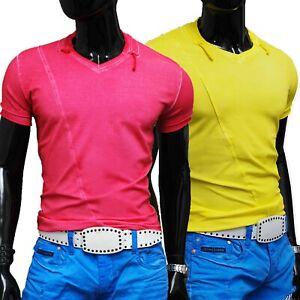 Men's V-Neck Summer T-Shirt Vivid Colours Slim Fit Cotton Size M and XL SALE