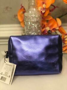 NWT YSL Beaute Lips Embossed Metallic Blue Cosmetic/ Make Up Bag