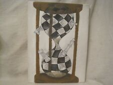 twisted chess board sand clock painting original one of a kind concept art time