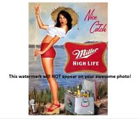 Miller High Life Beer Ad Girl PHOTO,Liquor Bar Sign Vintage Fishing