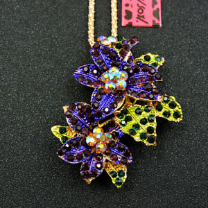 Betsey Johnson Purple Rhinestone Crystal Flower Pendant Sweater Chain Necklace