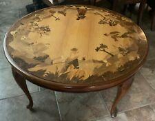 Buchschmid & Gretaux BG German Wood Round Coffee Table Inlay Marquetry 4 Seasons