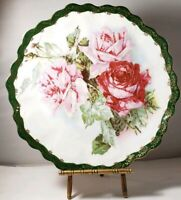 "Z S Bavaria Hand Painted Porcelain Plate Roses Pink & Red 9.75"" Scalloped Rim"