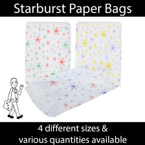 Starburst Patterned Paper Bags - Shop - Gift - Recyclable - Suitable Food Use