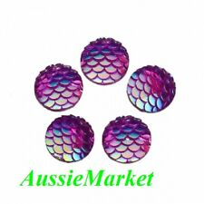 30 x purple ab cabochons resin fish scale pattern round 12mm jewellery jewelry