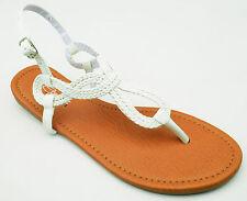 Braided Gladiator T-Strap Thongs Sandals Flip Flops Black White Silver Gold 6-10