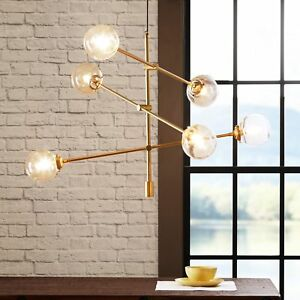 Asymmetrical Gold Globe Chandelier ~ Clear Glass Hanging Ceiling Light Fixture