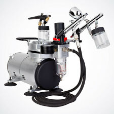 3x Airbrush Complete Kit Dual-Action Spray Gun Air Compressor Tattoo Hobby Paint