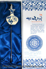 Chinese Porcelain Bookmark - Blue & White Dragon & Phoenix, Stainless Steel Hook