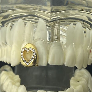 14k Gold Plated Heart Shape Tooth Iced One Top Single Open Face Cap Bling Grillz