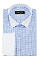 Jack Martin - Blue Double Cuff Gingham Check Slim Fit Shirt
