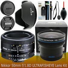 Nikon 50mm f/1.8D AF Nikkor Lens Accessory Kit for Nikon D3300 D3200 D5300 D5200