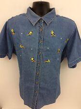 Looney Tunes Women's Short Sleeve Button Down Shirt Tweety Bird Denim  18w