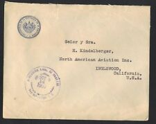 Salvador 1937 Rare Official Fee Paid Cover From The Presidential Office With