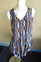 NEW Ladies Size 16 Mustard Brown Navy Tribal Print Shirt Tunic Top Blouse JENDI