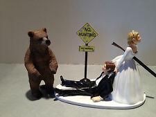 Hunt Hunting Humor Funny Bride Groom Wedding Cake Topper Brown Bear Gun Sign