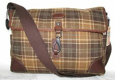 NEW-FOSSIL ALPINE PLAID BROWN+LEAHTER MESSENGER,LAPTOP+CROSSBODY MENS LARGE BAG
