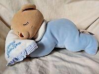 Keel Toys Baby's First Bear Blue Plush Animal Simply Soft Rattle Sleeping Teddy