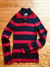 Tommy Hilfiger Jeans Women's 1/4 Zip Lighweight Ribbed Striped Sweater Size Sm