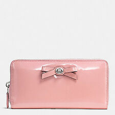 NWT COACH PATENT LEATHER TURNLOCK BOW ACCORDION ZIP WALLET BLUSH 53415