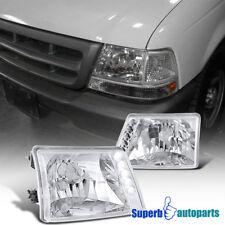 1998-2000 Ford Ranger LED Crystal Headlights Head Lamps Chrome