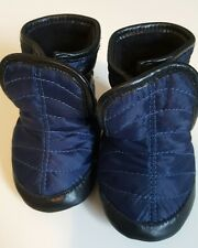 Robeez snow boots blue black 0-6 mth or size 1 crib shoe slip on soft sole