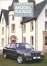 Peugeot 1987 Modelo Gama Reino Unido Folleto ft 205 XS CTI GTI GT 309 GTI 305 505 V6