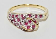 9ct Yellow Gold & Silver Ruby & Diamond Panther / Cat Ring size L
