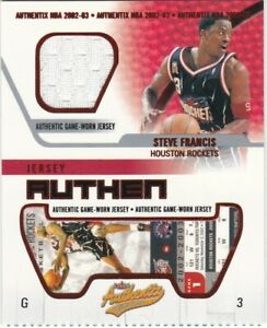STEVE FRANCIS PATCH TICKET 2002-03 FLEER AUTHENTIX JA-SF RIPPED ROCKETS
