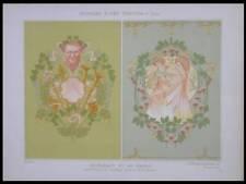 MULIER, LA DANSE, ART NOUVEAU -1900- LITHOGRAPHIE, NOISETTES, RAISINS, FUSCHIAS