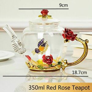 Enamel Crystal Flower Glass Teapot for Hot and Cold Drinks Home Drinkware Pot