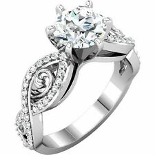 1 carat center Round Diamond Engagement Solitaire 14K White Gold Ring, G-SI2