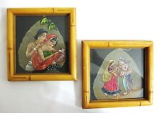 PAIR of VINTAGE HAND PAINTED PIPAL TREE LEAVES with FRAME...INDIA