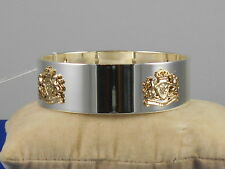 Ralph Lauren Polished Silvertone Goldtone Crest Bangle Bracelet 60492189-EZ6 $78