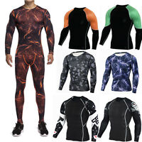 Men's Sports Compression Sets Athletic Apparel Under Base Layer Dri-fit Outfits