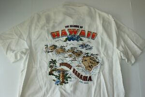 Tommy Bahama Camp Shirt Islands Of Hawaii Embroidered Panelback White Medium M
