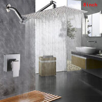 """Brushed Nickel 8"""" Ultra-thin Shower Faucet With Mixer Valve Tap + Adjustable Arm"""