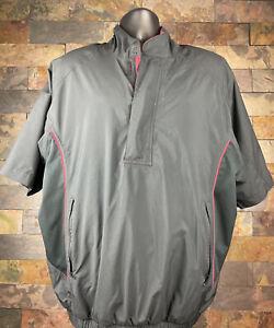 FootJoy DryJoys Black/Red S/S 1/2 Zip Golf Jacket Mens Large Windbreaker MINT