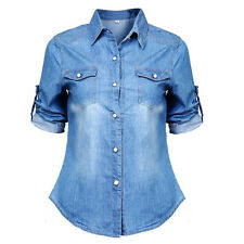US STOCK Sexy Women Casual Jean Soft Denim Long Sleeve Shirt Tops Blouse Jacket