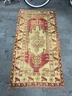 Handmade Distressed Wool Carpet, Turkish Oushak Rug, Antique Area Rug, 3x5.6 ft