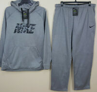 NIKE THERMA DRI-FIT SWEATSUIT HOODIE + PANTS SUIT GREY BLACK RARE NEW (SIZE 2XL)