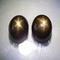 7.76CT Unheated Black Star Sapphire 6 Rays Natural Gemstone Oval Cabochon 2 PCS