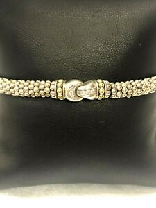 Lagos 18K and Sterling Silver Cavier Beaded Bracelet  with Diamonds