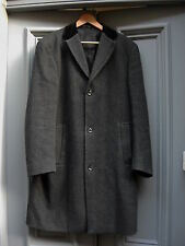 Jeff Banks  'Crombie' velvet collar grey  herringbone overcoat 38-40