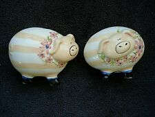 Clayworks by Heather Goldminc 2008 Blue Sky Pig Salt & Pepper Shakers Signed New