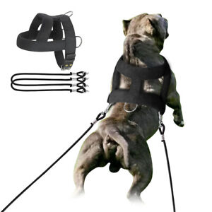 Dog Weight Pulling Harness for Large Dogs Heavy Duty Adjustable Training PITBULL